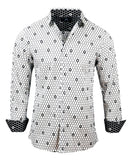 Men's Casual Fashion Button Up Shirt - Overkill White Skull by Rock Roll n Soul