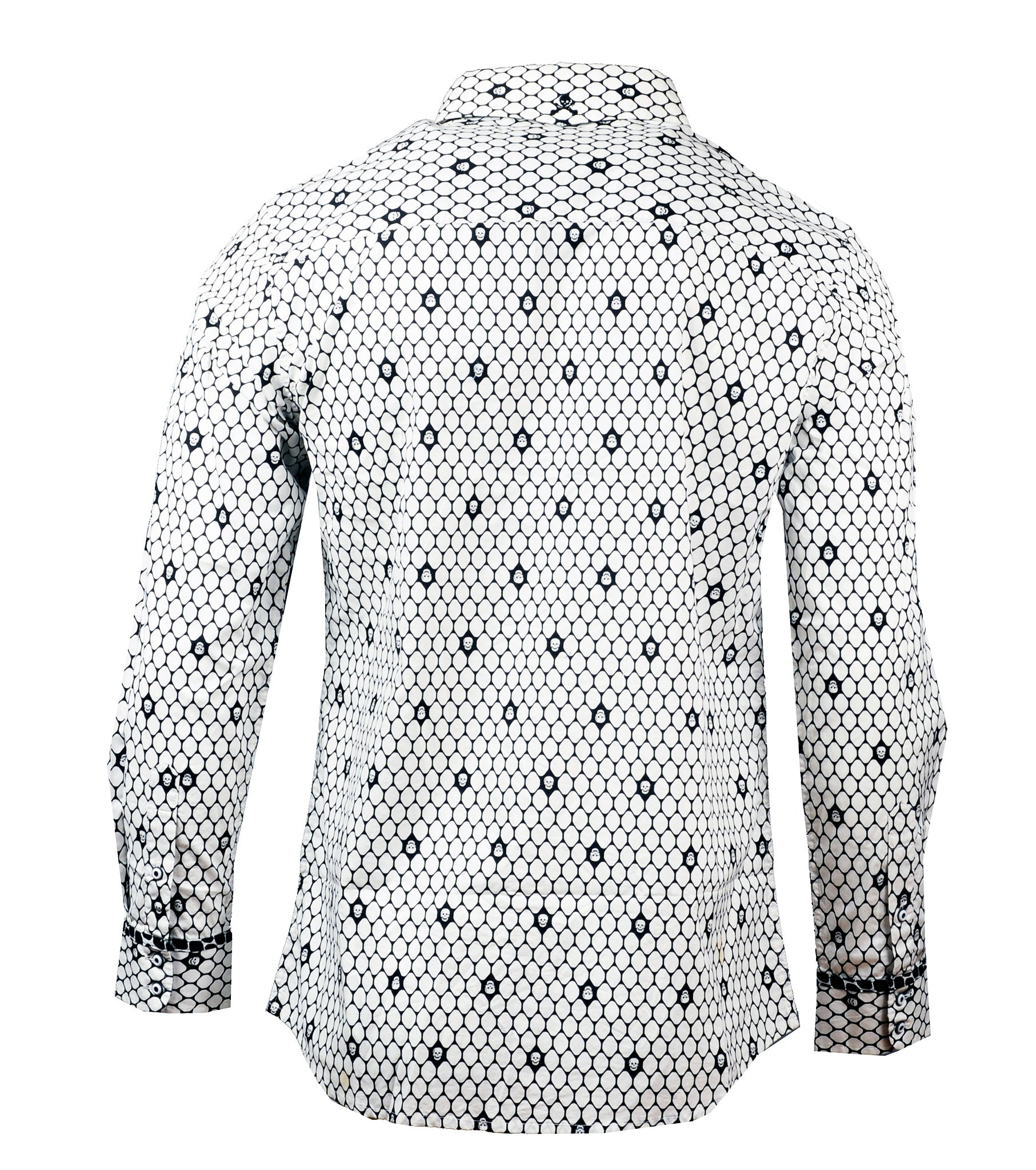 Men's long sleeve Casual Fashion Button Up Shirt - Overkill White Skull by Rock Roll n Soul2