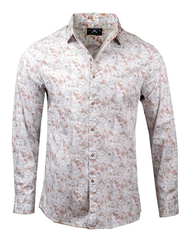 Men's Casual Fashion Button Up Shirt - Pour Some Sugar on Me Paisley by Rock Roll n Soul