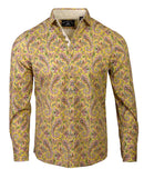 Men's Casual Fashion Button Up Shirt - Hazey Paisley by Rock Roll n Soul