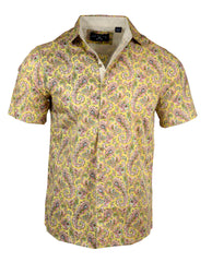 Men's Casual Fashion Button Up Shirt - S/S Hazey Paisley by Rock Roll n Soul