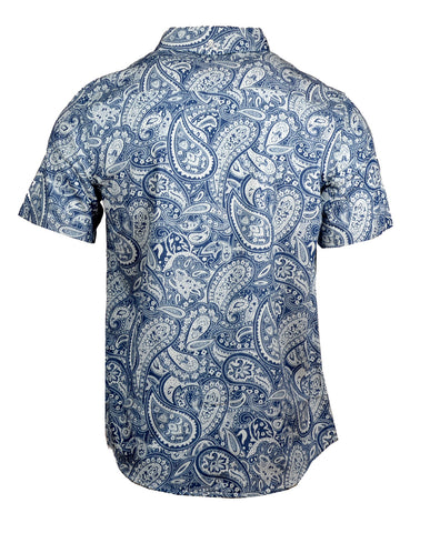 Men's Casual Fashion Button Up Shirt - S/S Hillbilly Deluxe Paisley by Rock Roll n Soul