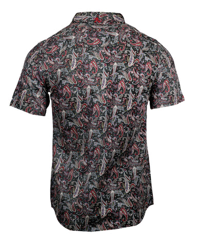Men's Casual Fashion Button Up Shirt - S/S Bark at the Moon Paisley by Rock Roll n Soul