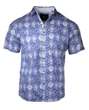 Men's Casual Fashion Button Up Shirt - S/S Blue Morning Blue Day by Rock Roll n Soul