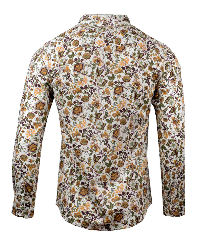 Men's Casual Fashion Button Up Shirt - Our Vines are Divine Floral by Rock Roll n Soul
