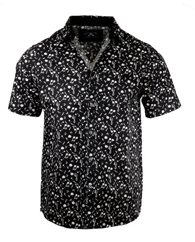Men's Casual Fashion Button Up Shirt - S/S Music on My Mind by Rock Roll n Soul