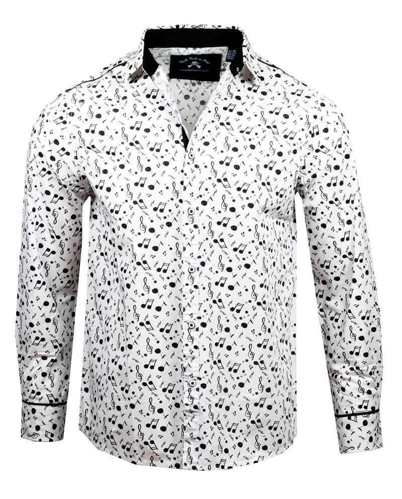 Men's Casual Fashion Button Up Shirt - Music on My Mind by Rock Roll n Soul