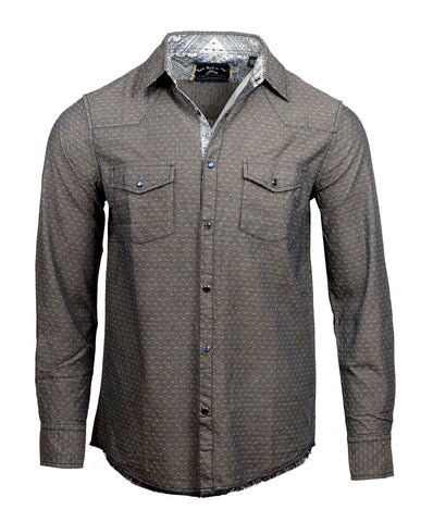 Men's Casual Fashion Button Up Shirt - Hideaway by Rock Roll n Soul