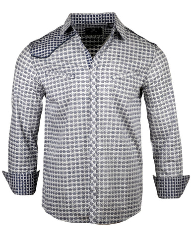 Men's Casual Fashion Button Up Shirt - Station to Station by Rock Roll n Soul1