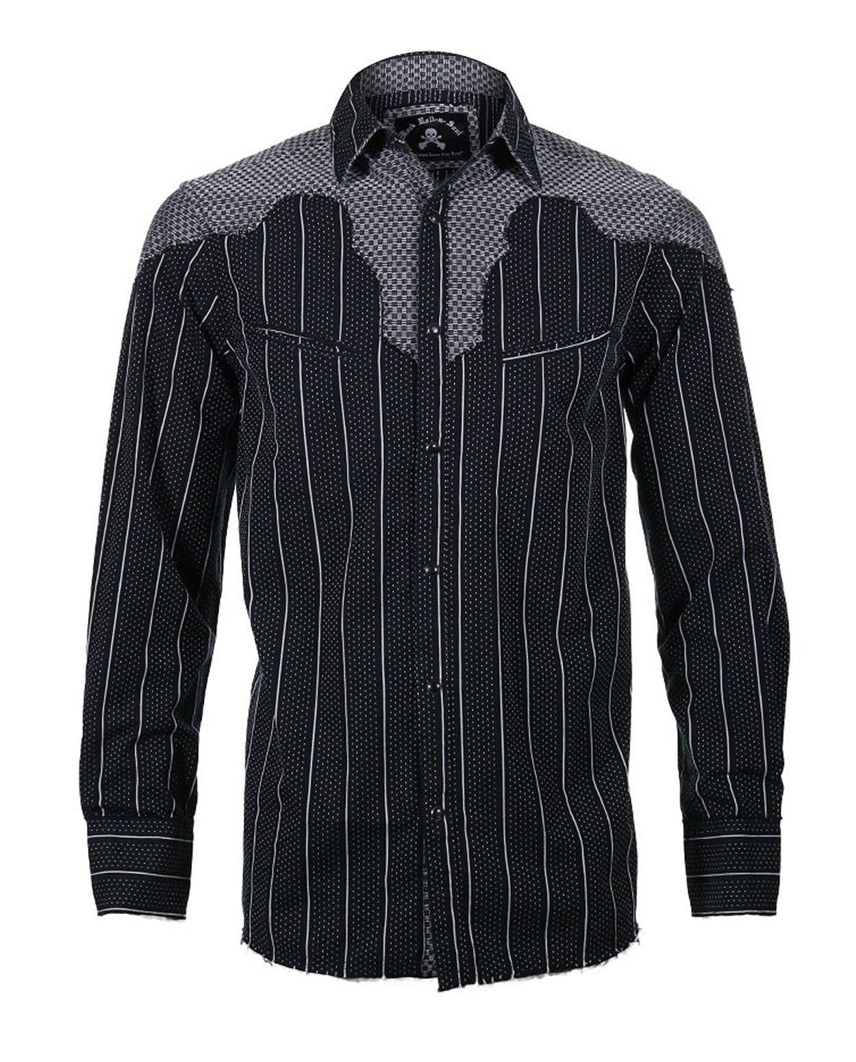 Men's Western Button Up Shirt - Western County Bars  Black by Rock Roll n Soul