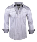 Men's Western Button Up Shirt - Western County Bars White by Rock Roll n Soul