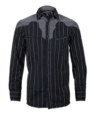 Men's Button up Western Fashion Shirt by Rock Roll n Soul in Black-1-County Bars