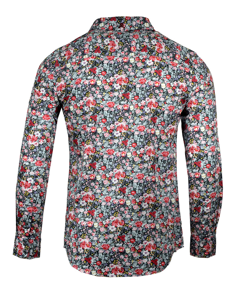 Men's Casual Fashion Button Up Shirt - Isolation Wild Flowers Floral by Rock Roll n Soul