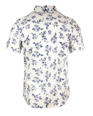 Men's Short Sleeve Casual Fashion Button Up Shirt - Flower Well in White by Rock Roll n Soul1
