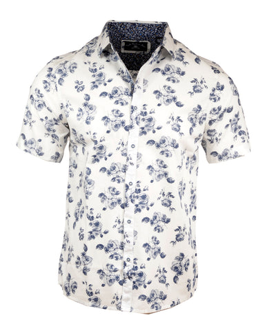 Men's Short Sleeve Casual Fashion Button Up Shirt - Flower Well in White by Rock Roll n Soul