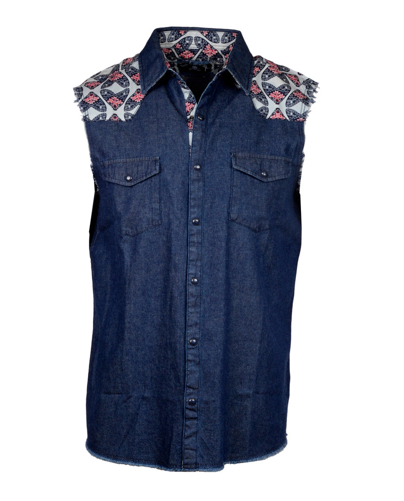 Men's Casual Fashion Button Up Sleeveless Shirt - Drinkin and Dreamin in Navy by Rock Roll n Soul