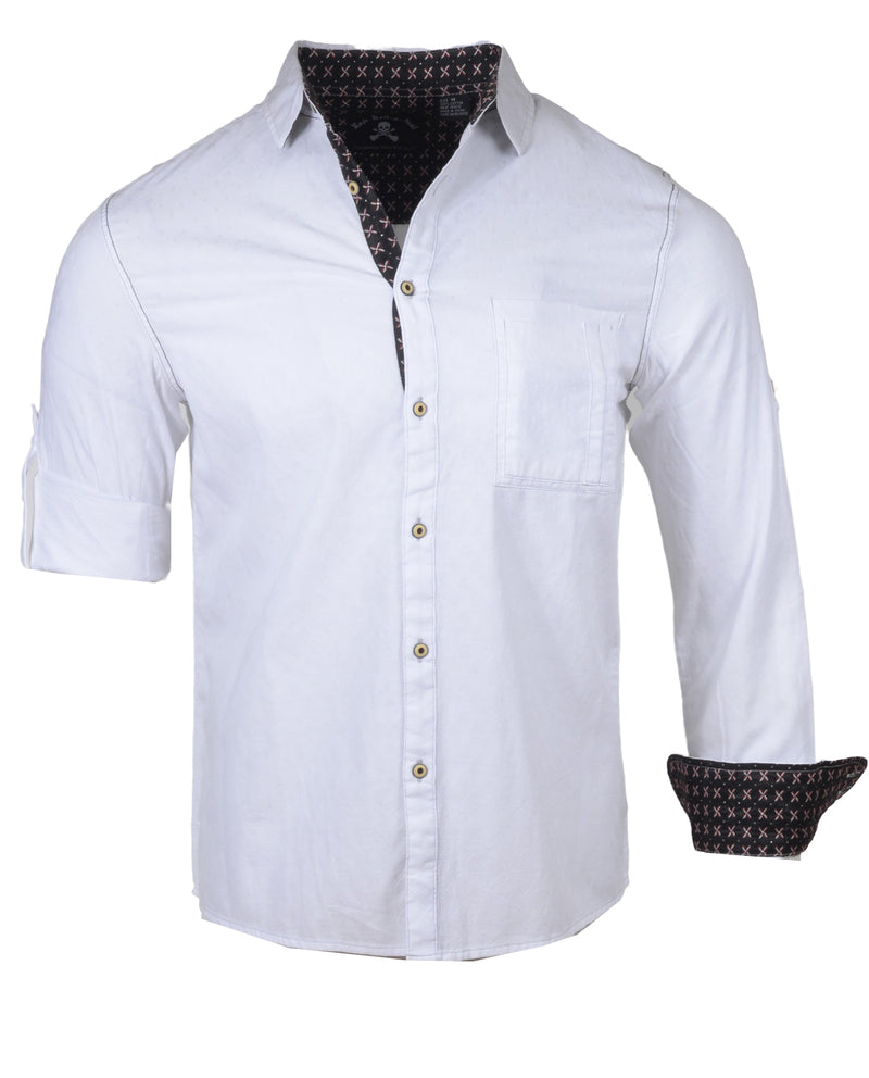 Men's Casual Fashion Button Up Shirt - White Out in the Red Room by Rock Roll n Soul1
