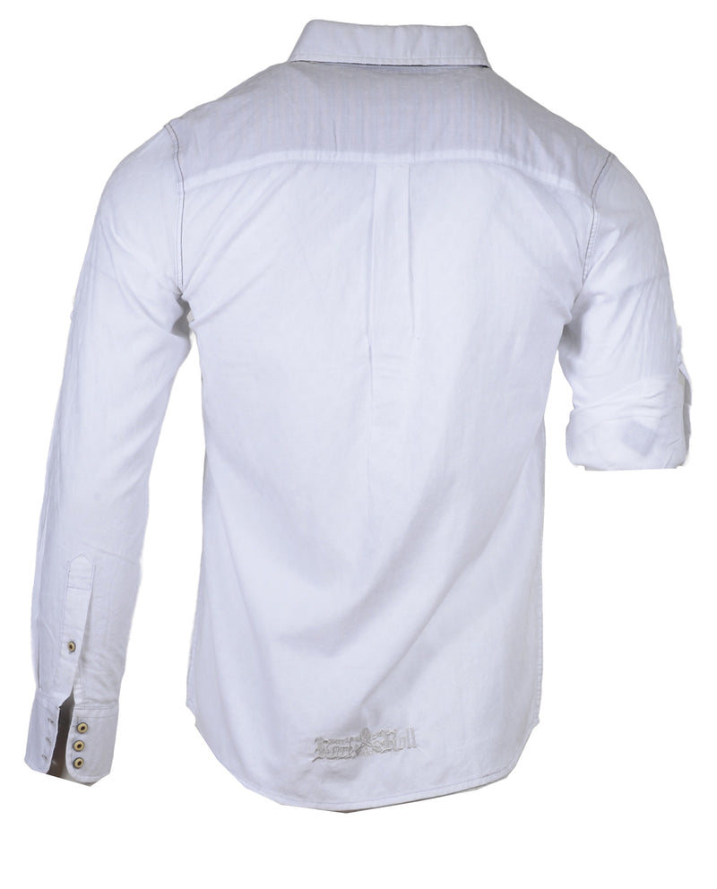 Men's Casual Fashion Button Up Shirt - White Out in the Red Room by Rock Roll n Soul2