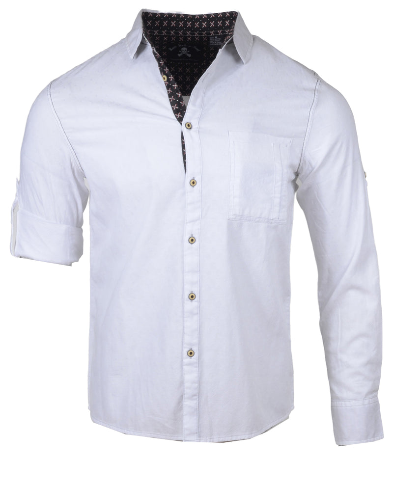 Men's Casual Fashion Button Up Shirt - White Out in the Red Room by Rock Roll n Soul