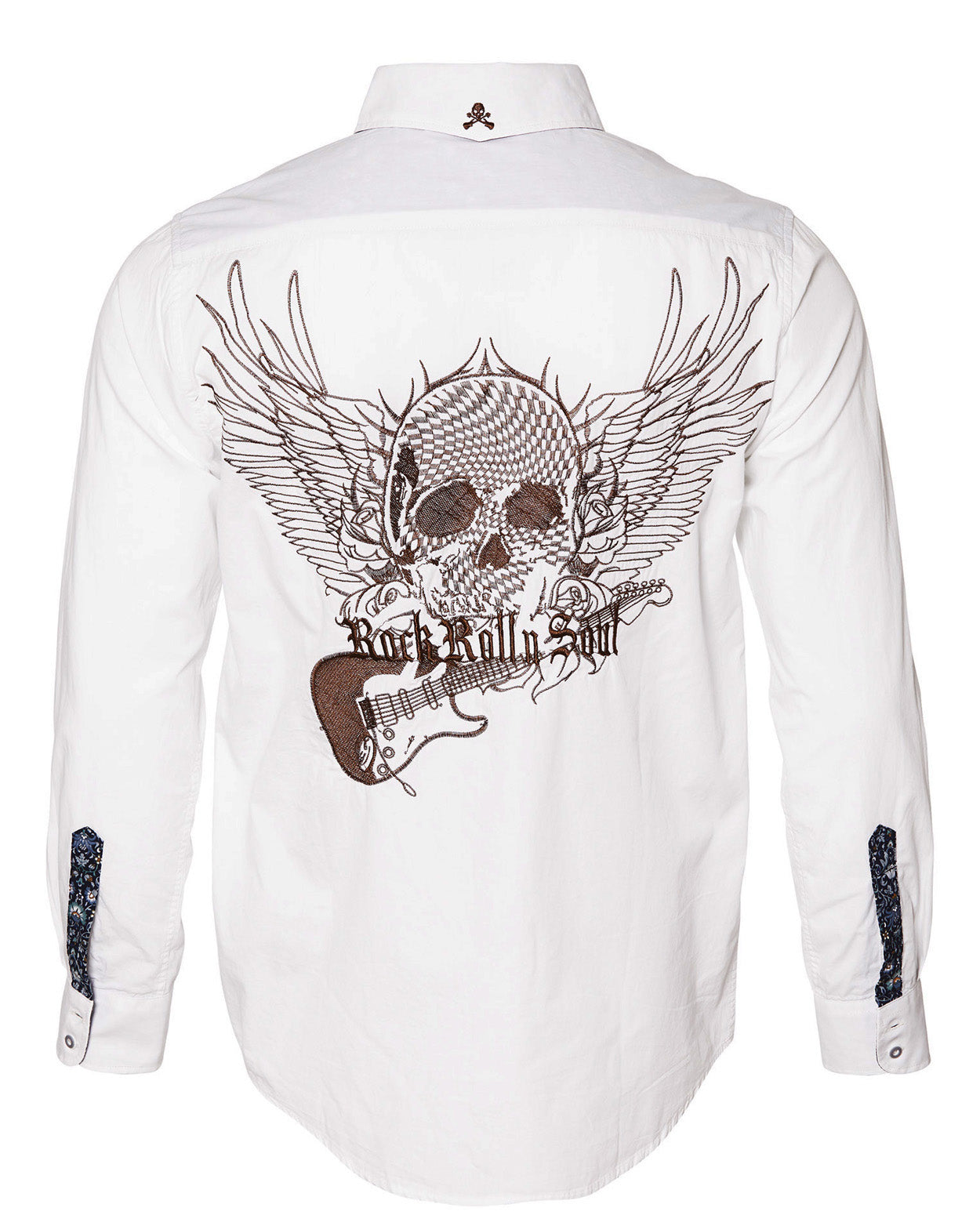 Men's Casual Fashion Button Up Shirt - Flying Skull & Guitar by Rock Roll n Soul