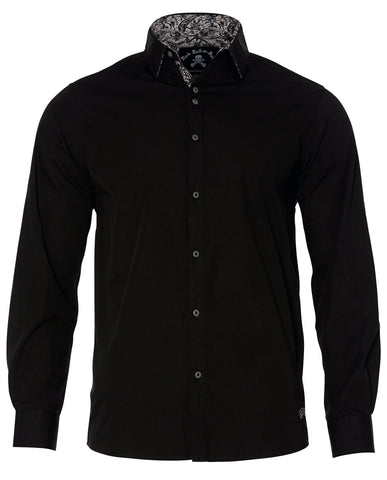 Men's Casual Fashion Button Up Shirt - Love Hate Black by Rock Roll n Soul