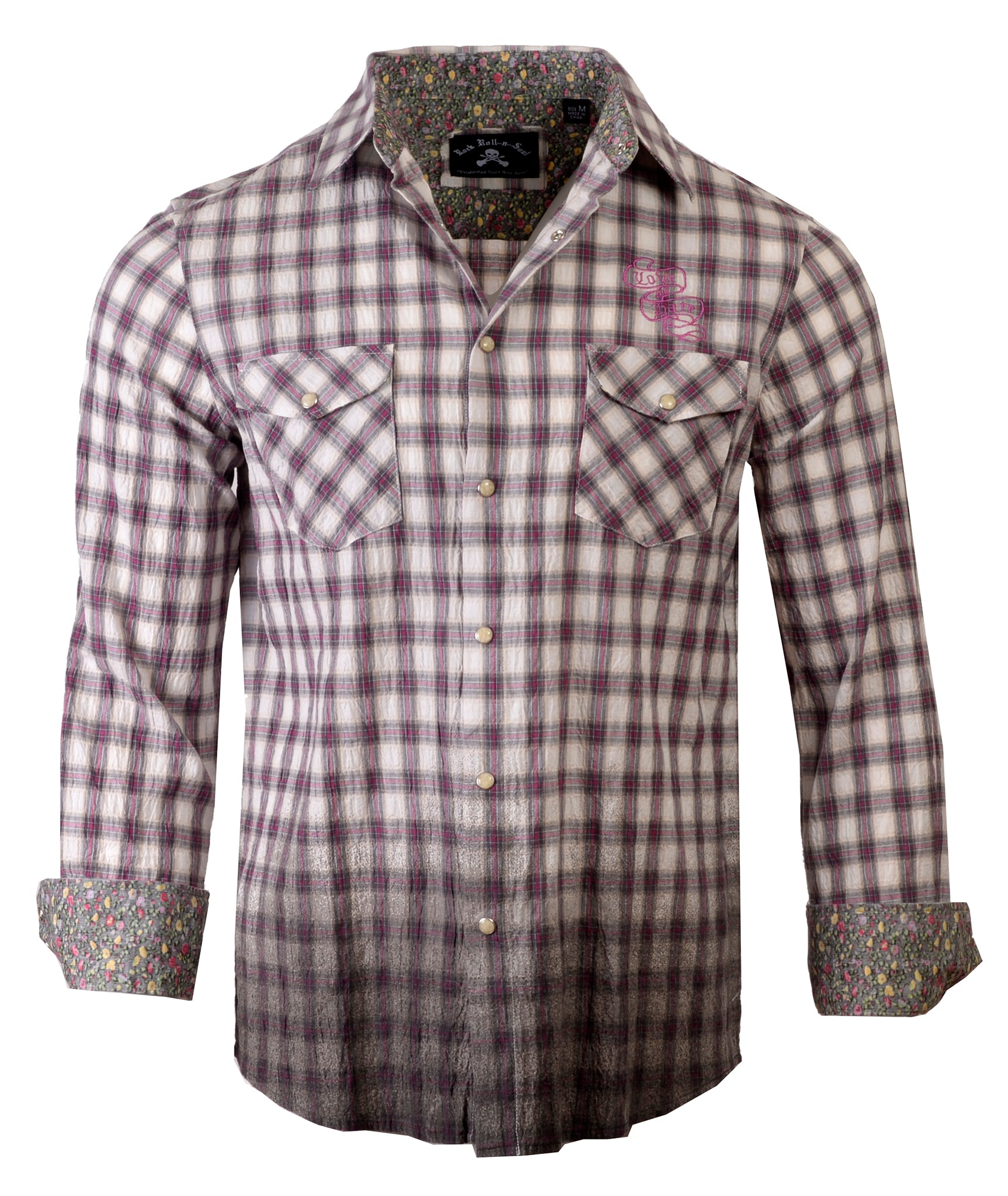 Men's Casual Fashion Button Up Shirt - In the End Fuchsia Dip Dyed by Rock Roll n Soul