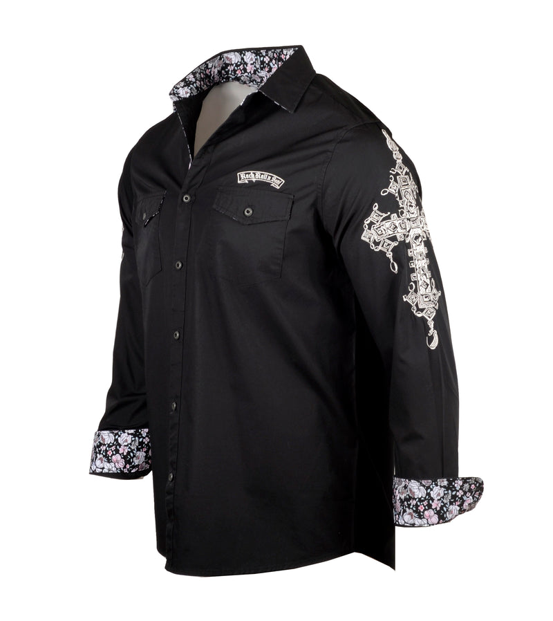 Men's Casual Fashion Button Up Shirt - Rebel Yell by Rock Roll n Soul