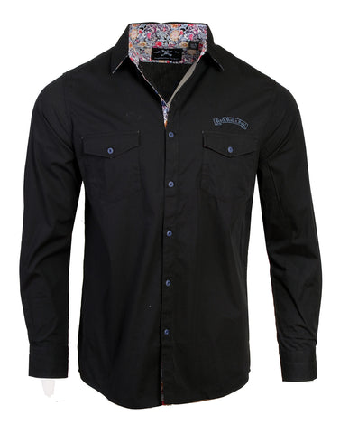 Men's Casual Fashion Button Up Shirt - Jukebox Hero Black by Rock Roll n Soul