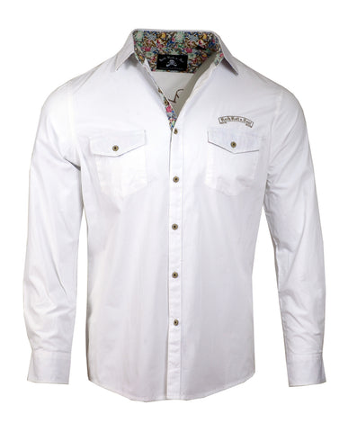 Men's Casual Fashion Button Up Shirt - Jukebox Hero White by Rock Roll n Soul1