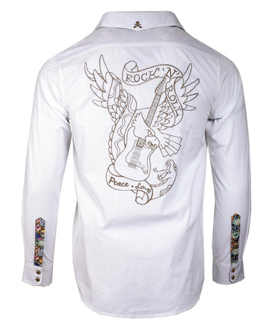 Men's Casual Fashion Button Up Shirt - Jukebox Hero White by Rock Roll n Soul
