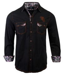 Men's Casual Fashion Button Up Shirt - Paradise City in Black by Rock Roll n Soul
