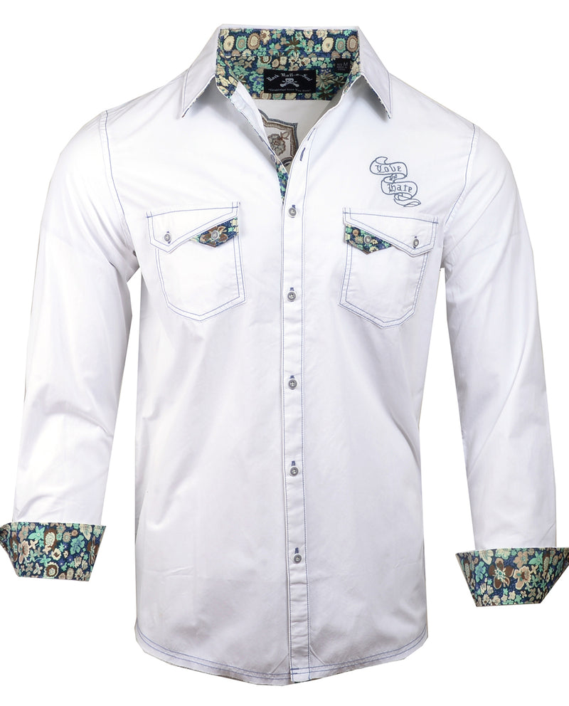 Men's Casual Fashion Button Up Shirt - Paradise City in White by Rock Roll n Soul2