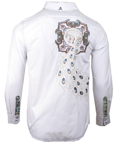 Men's Casual Fashion Button Up Shirt - Paradise City in White by Rock Roll n Soul1