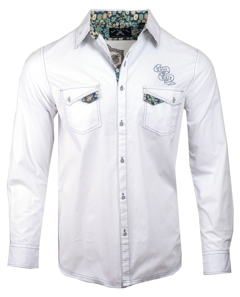Men's Casual Fashion Button Up Shirt - Paradise City in White by Rock Roll n Soul