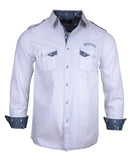 Men's long sleeve Casual Fashion Button Up Shirt - Hells Bells in White by Rock Roll n Soul1
