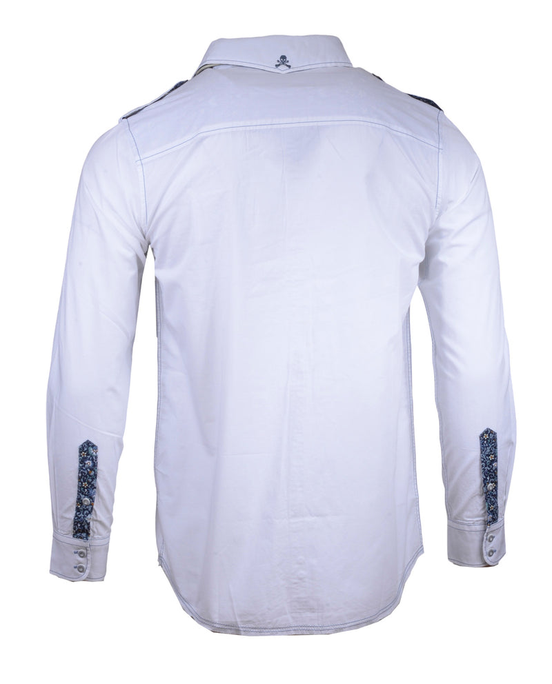 Men's long sleeve Casual Fashion Button Up Shirt - Hells Bells in White by Rock Roll n Soul2