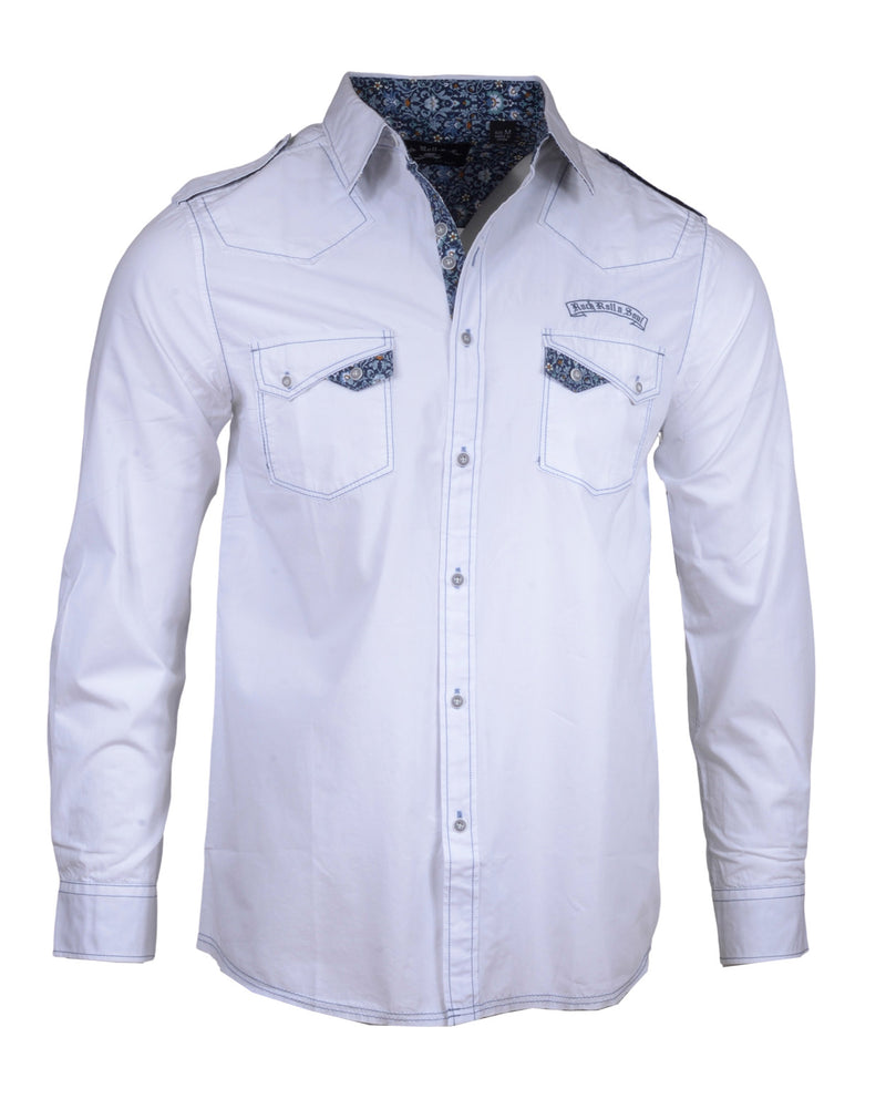 Men's long sleeve Casual Fashion Button Up Shirt - Hells Bells in White by Rock Roll n Soul