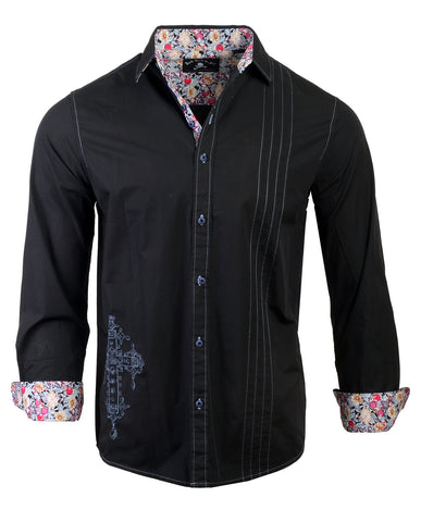 Men's Casual Fashion Button Up Shirt - Music is my Salvation by Rock Roll n Soul