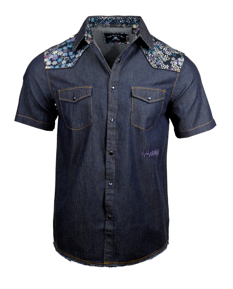 Men's Western Button Up Shirt - S/S Black Dog Indigo by Rock Roll n Soul