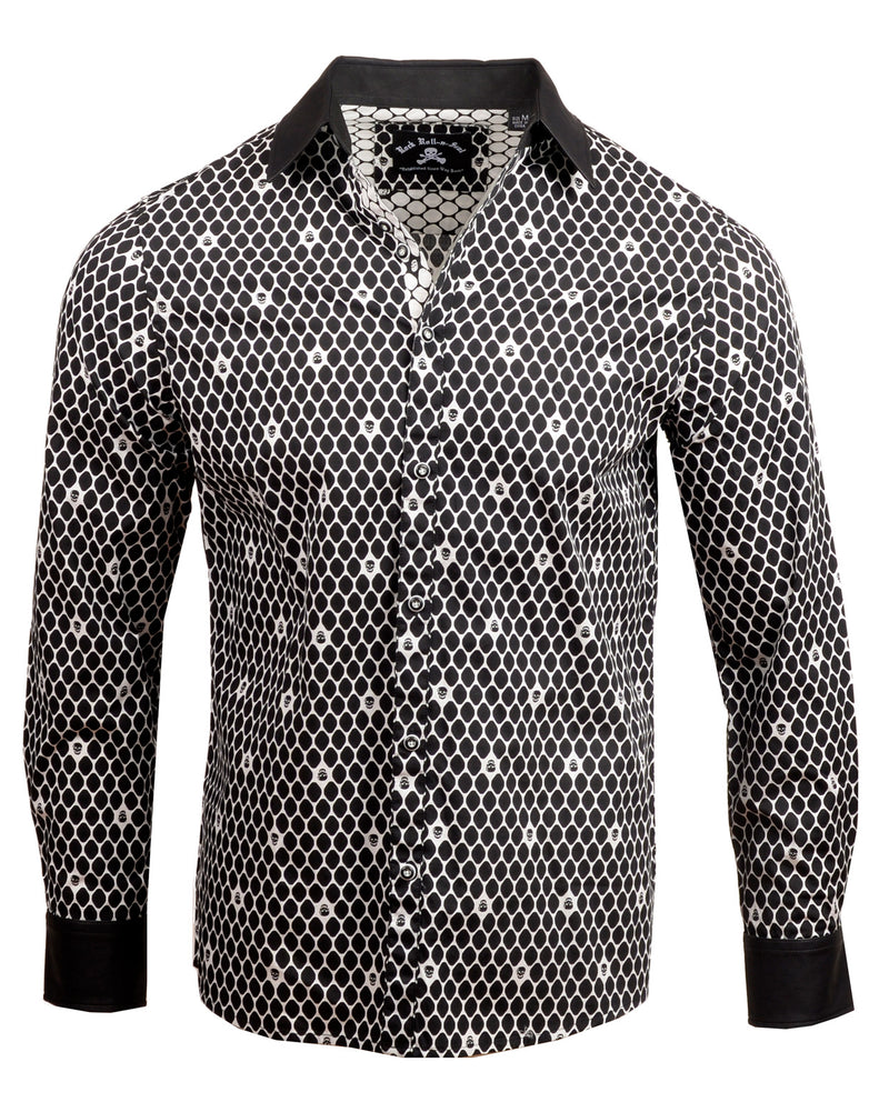 Men's Casual Fashion Button Up Shirt - Overkill Black Skull w/Faux Leather Collar & Cuffs by Rock Roll n Soul