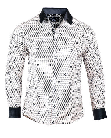 Men's Casual Fashion Button Up Shirt - Overkill White Skull w/Faux Leather Collar & Cuffs by Rock Roll n Soul