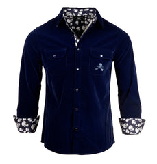 Men's Faux Suede Long Sleeve Snap Button Fashion Shirt - 'Blue Suede Shoes' by Rock Roll n Soul1