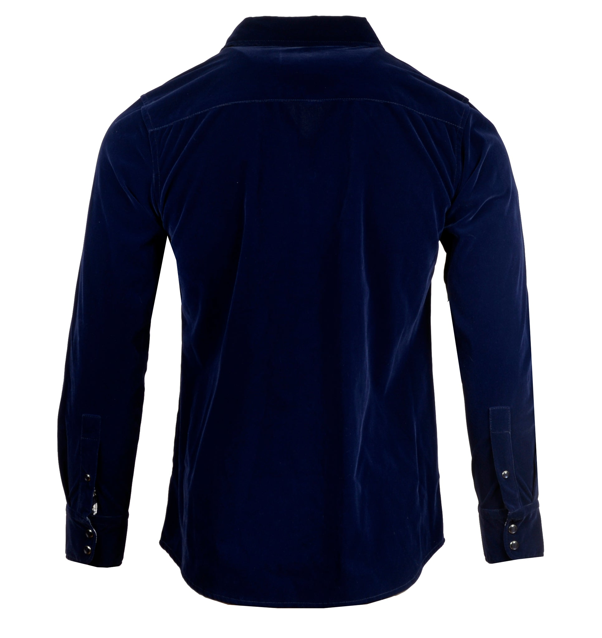 Men's Faux Suede Long Sleeve Snap Button Fashion Shirt - 'Blue Suede Shoes' by Rock Roll n Soul2