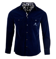 Men's Faux Suede Long Sleeve Snap Button Fashion Shirt - 'Blue Suede Shoes' by Rock Roll n Soul