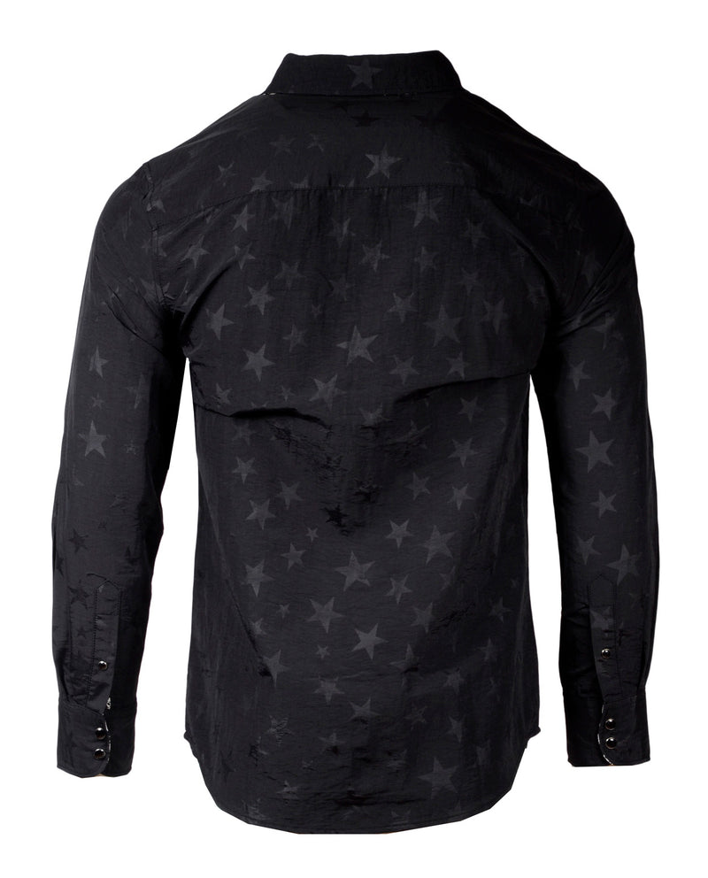 Men's Casual Fashion Button Up Shirt - A Star is Born Black by Rock Roll n Soul2