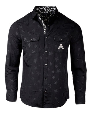 Men's Casual Fashion Button Up Shirt - A Star is Born Black by Rock Roll n Soul