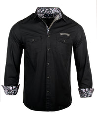 Men's Long Sleeve Embroidered Skull & Guitar Casual Fashion Button Up Shirt - Time is Running Out by Rock Roll n Soul1