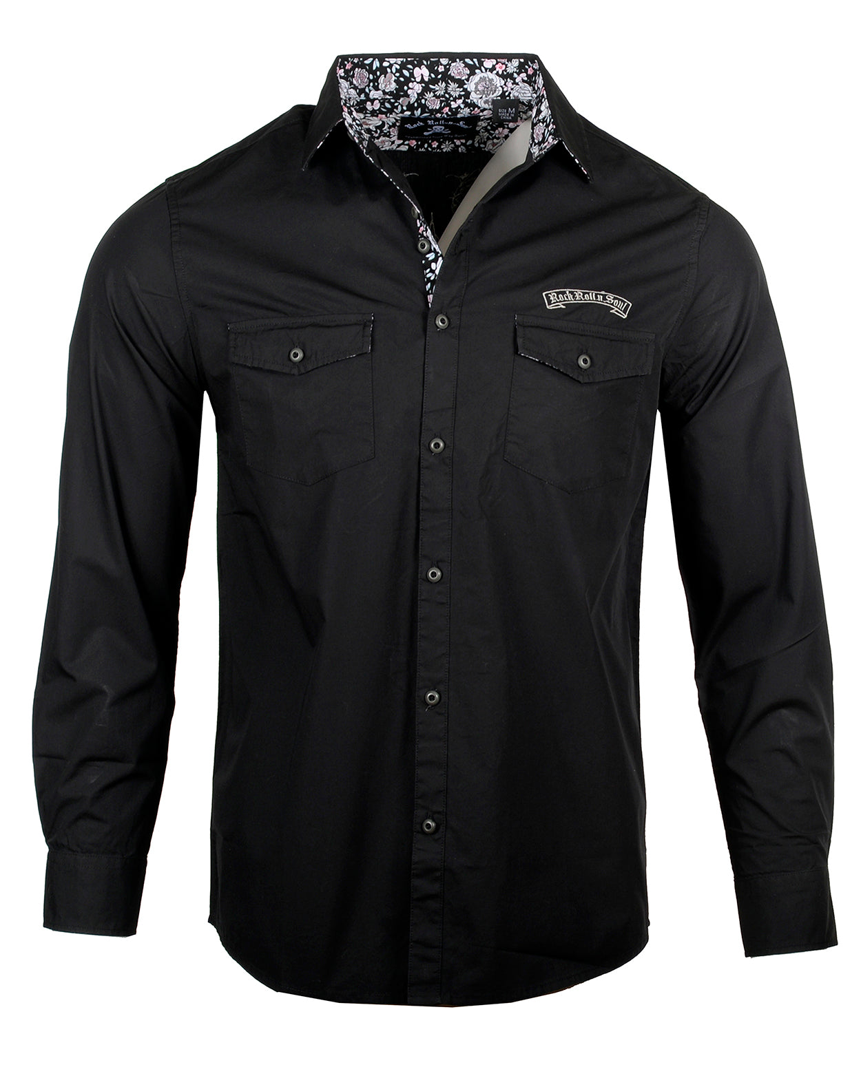 Men's Casual Fashion Button Up Shirt - Time is Running Out by Rock Roll n Soul