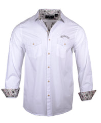 Men's Long Sleeve Embroidered Guitar Casual Fashion Button Up Shirt - Time is Running Out in White by Rock Roll n Soul1