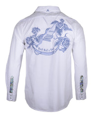 Men's Long Sleeve Embroidered Guitar Casual Fashion Button Up Shirt - More than words in White by Rock Roll n Soul